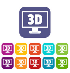 computer monitor with 3d inscription icons set vector image