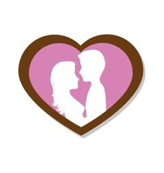 Couple love card icon vector