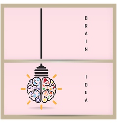 Creative brain Idea and light bulb banner concept vector image