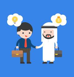 Cute arab businessman handshake with business guy vector