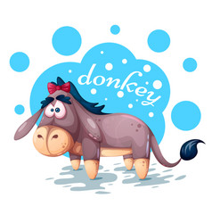 cute teddy donkey - funny vector image