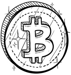 doodle currency coin bitcoin vector image