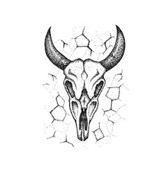 Dotwork burnt cow skull vector