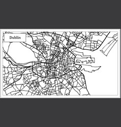 dublin ireland city map in black and white color vector image
