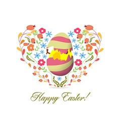 Easter egg inside heart florals vector