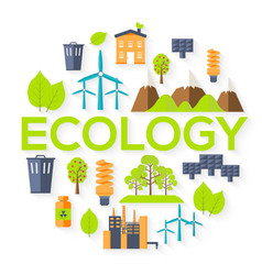 Ecology circle infographics template concept vector