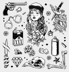 Edgy black and white tattoo flash set vector