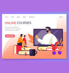 education and webinars online courses web banner vector image