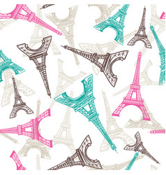 eiffel tower seamless pattern french vector image