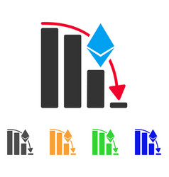 Ethereum falling acceleration chart icon vector