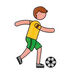 Ethlete practicing soccer avatar vector