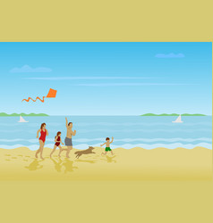 family parents girls boys are running on send vector image