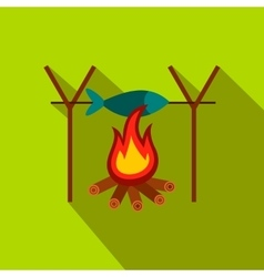 Fresh fish above fire flat icon vector