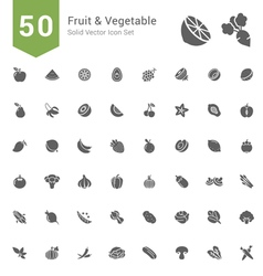 Fruit and Vegetable Solid Icon Set vector