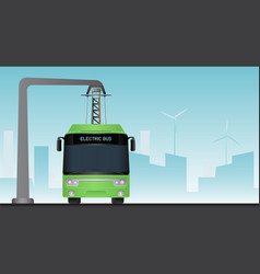 Green electric bus vector