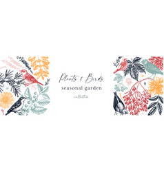 Hand sketched autumn banner design in color vector