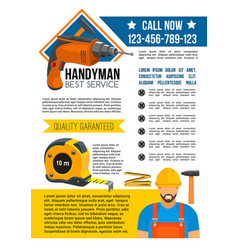 Handyman and house repair service poster vector