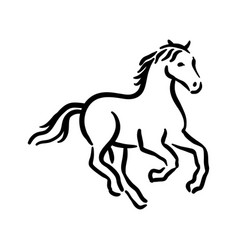 Horse symbol black on white vector