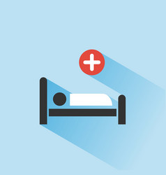 hospital bed medicine color icon with shadow on a vector image