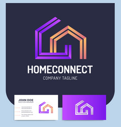 isolated two line style home connect logo or vector image