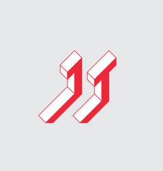 Jt - logo or 2-letter code isometric 3d font for vector