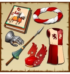 Knight different items middle ages vector