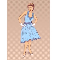 Lady in blue dress in retro style vector