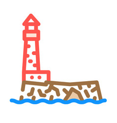 Lighthouse island color icon vector