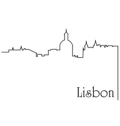 Lisbon city one line drawing background vector