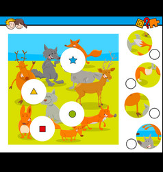 match pieces puzzle with wild animals group vector image