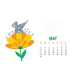 May calendar page with cute rat in blooming flower vector