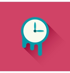 Melting clock icon vector