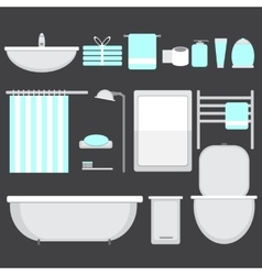 Modern bathroom ocons set in flat style vector image