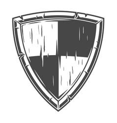 Monochrome knight wooden shield concept vector