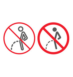 no peeing line and glyph icon prohibition vector image