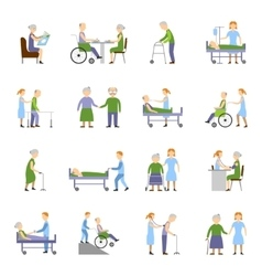 Nursing Elderly People Icons Set vector image