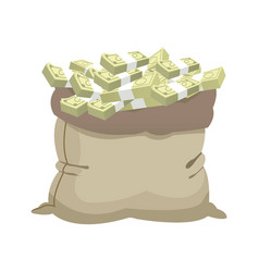 Open money bag full banknote stack bill dollar vector