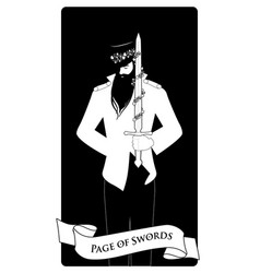 page or knave swords with top hat holding a vector image