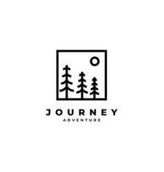 pine tree road logo design vector image