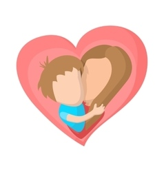 pink heart with mom and son cartoon icon vector image