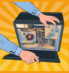 Pop art repair man cleaning dust in pc system unit vector