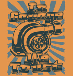 retro poster with turbocharger vector image