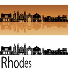 Rhodes skyline in orange vector image