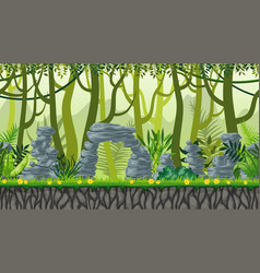 seamless nature jungle landscape with separate vector image