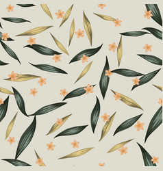 seamless pattern flowers leaves background vector image