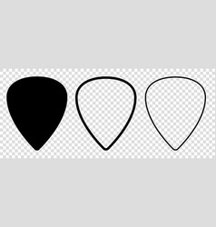 Set blank solid and line guitar picks icon vector
