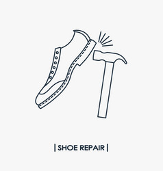 Shoe repair outline icon vector
