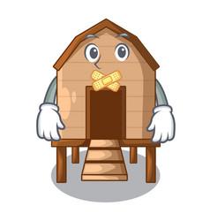 Silent chicken in a wooden cartoon coop vector
