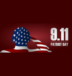 Soldier saluting usa flag for patriot day vector