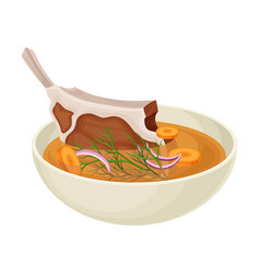 Soup consisting mutton vegetables rice and vector
